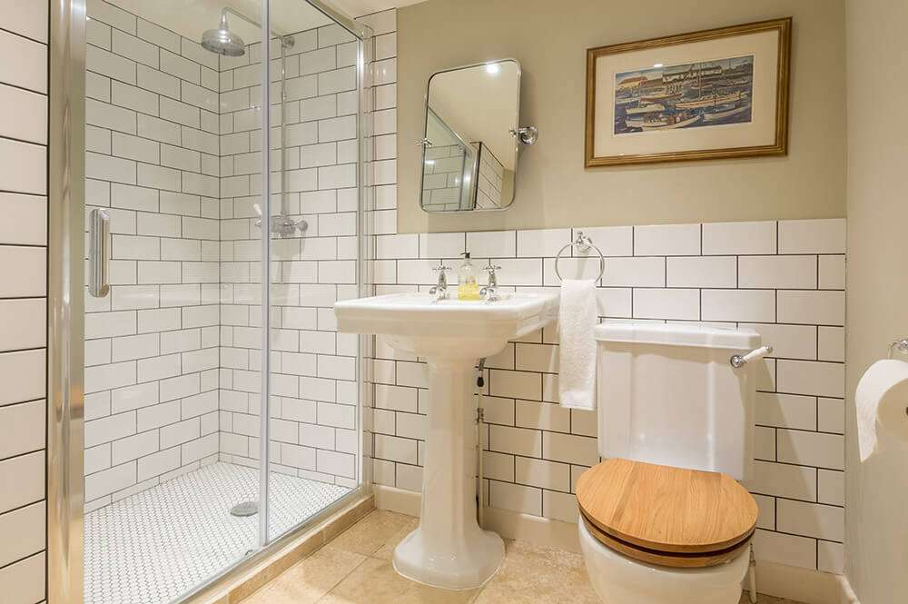 Modern shower and bathroom at Bear's Cottage holiday cottage in Norfolk