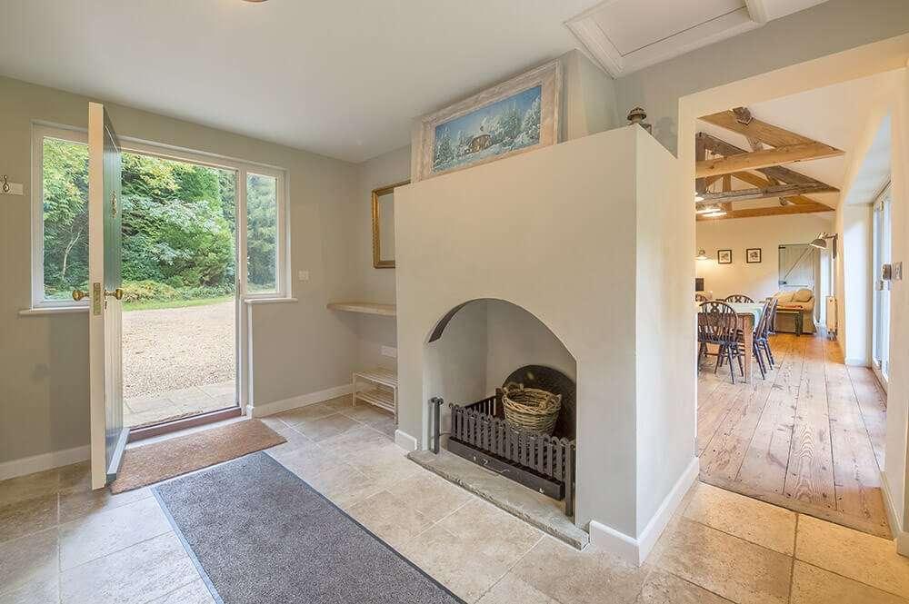 An open fire in Bear's Cottage in Norfolk