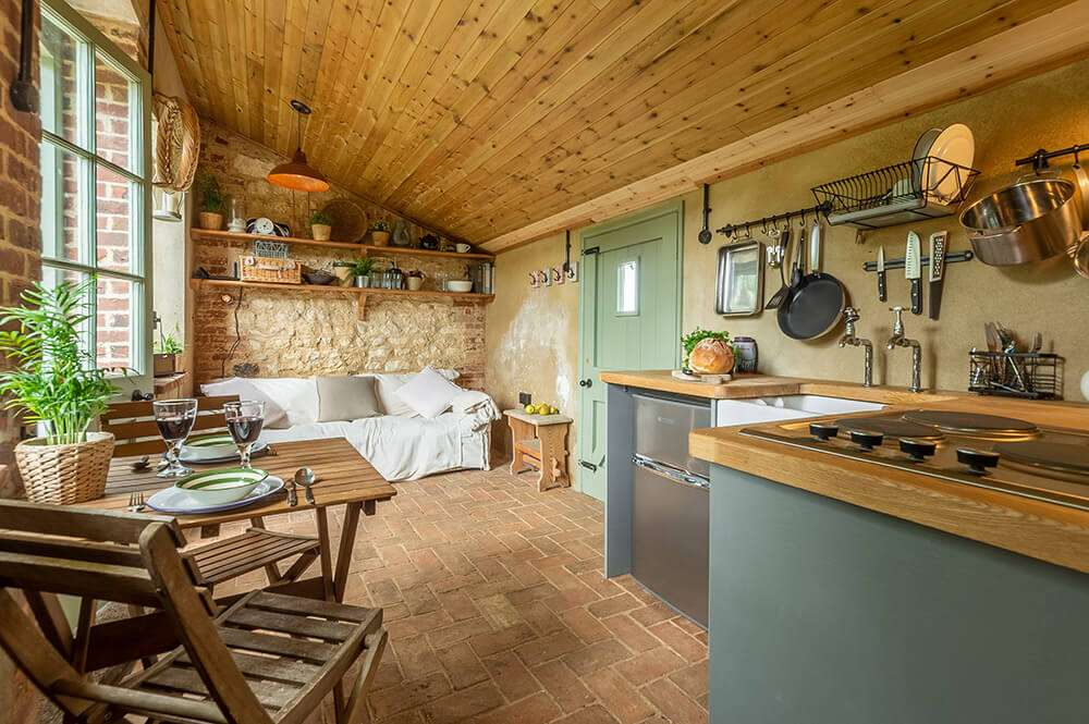 The modern kitchen area at the Potting Shed at Fring
