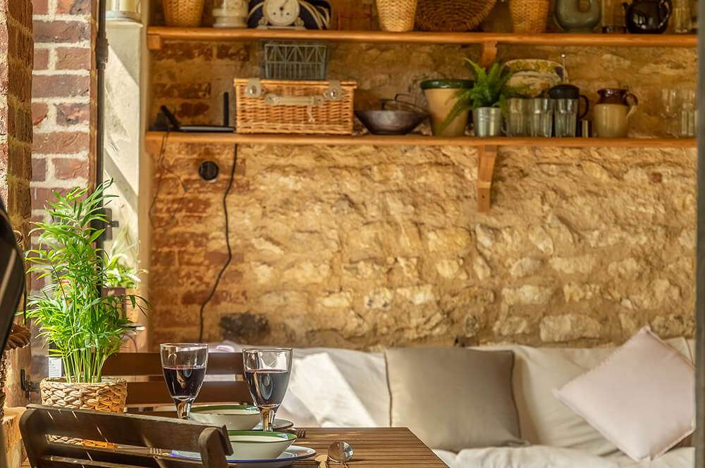 The cosy living area at the Potting Shed holiday accommodation in Norfolk