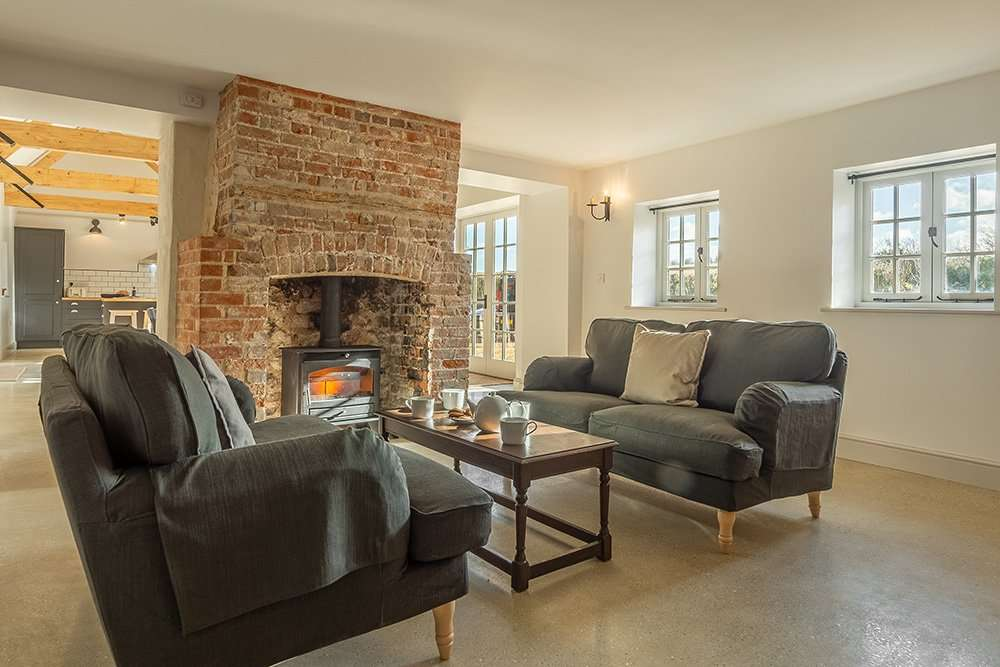 The woodburner in the snug at Market Square House in Fring