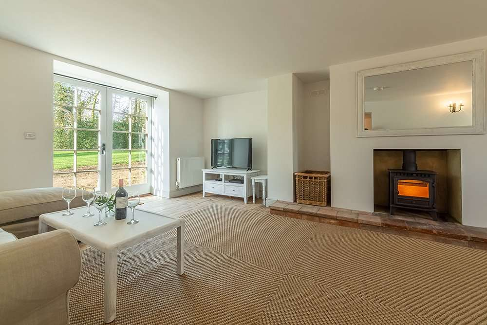 The woodburner in the living room at Market Square House, Fring