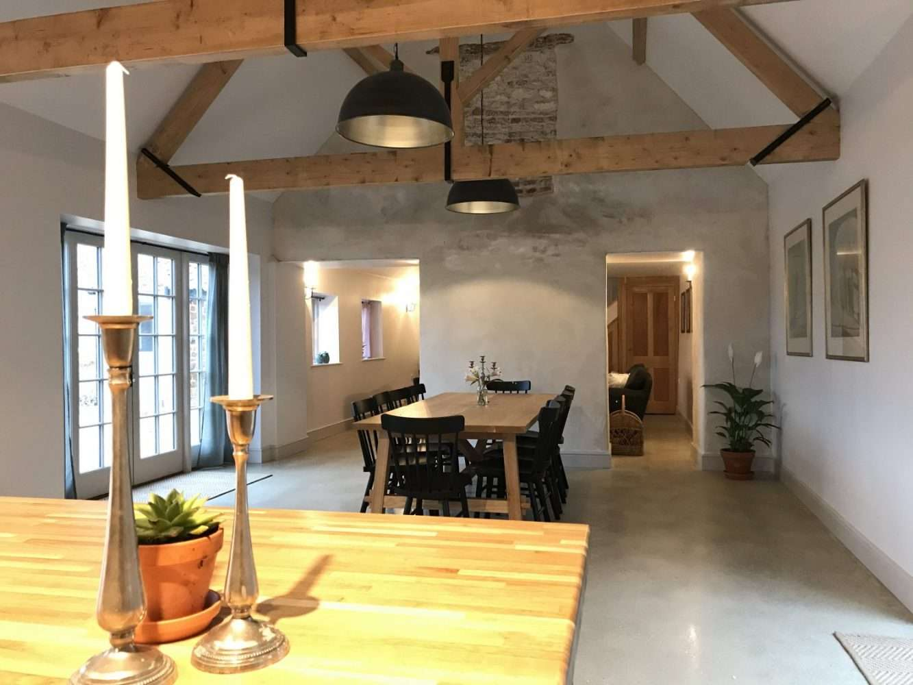 Image shows the open plan dining area of Market Square House